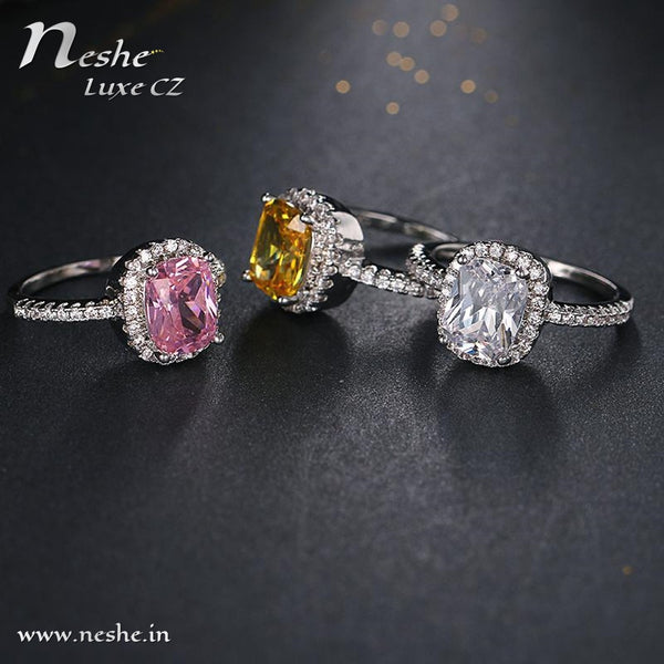 Square CZ Crystal Platinum Plated Square Solitaire Ring - 3 Colors - [neshe.in]