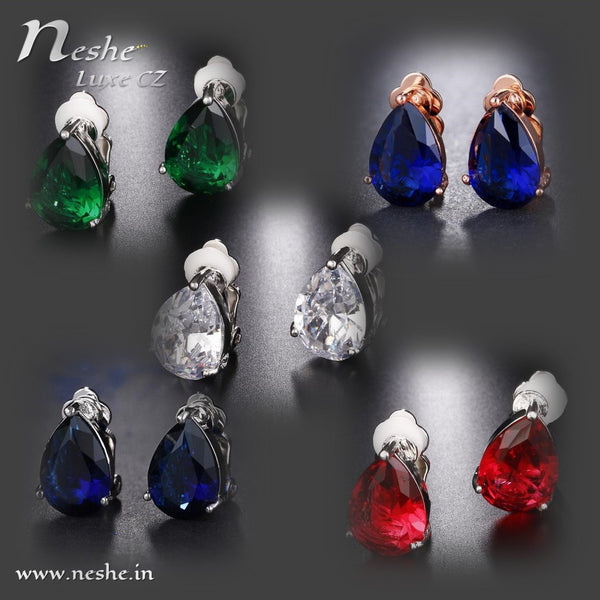 Water Drop CZ Crystal Clip on  Stud Earrings - 5 Styles - [neshe.in]