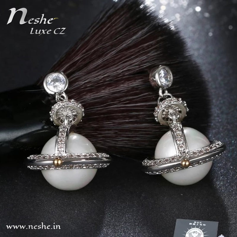 CZ Crystal Silver Pearl Planet Party Drop Earring - [neshe.in]