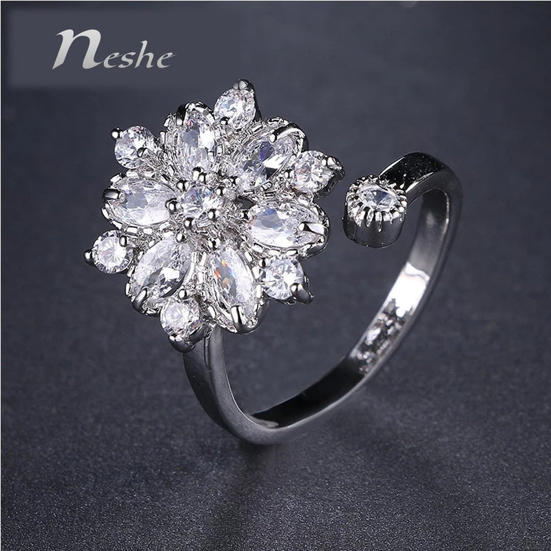CZ Crystal Platinum Plated Open Ring - [neshe.in]
