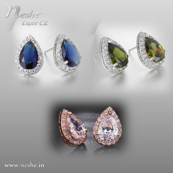 Classic Water Drop AAA CZ Crystal Stud Earring- 4 Colors - [neshe.in]