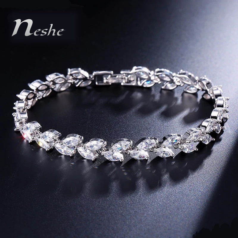 Elegant AAA CZ Crystal Leaves Bracelet - 2 Colors - [neshe.in]