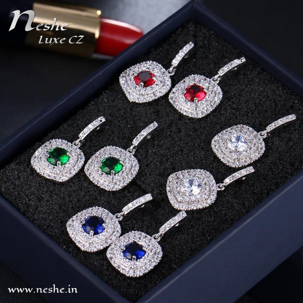 Classic Square Drop CZ Crystal Earrings - 4 Colors - [neshe.in]