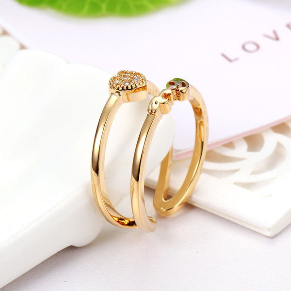 Open Double Circle Rhinestone Adjustable Ring - Gold & Silver - [neshe.in]
