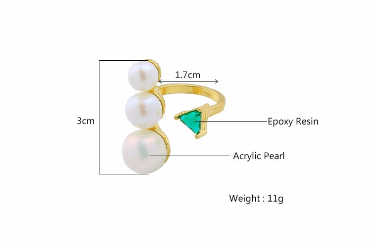 Green Stone Pearl Women Ring Adjustable - [neshe.in]