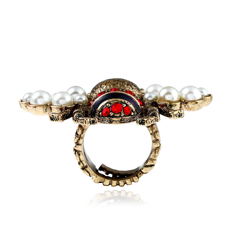 Vintage Bee Pearl Bee Ring For Women - [neshe.in]