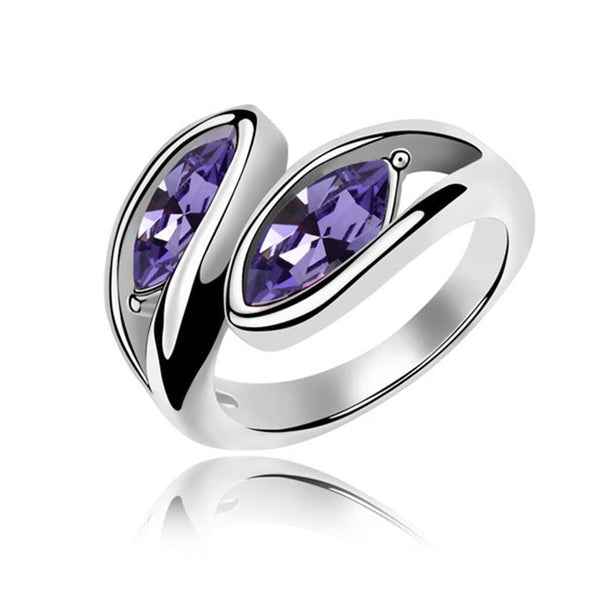 Purple Crystal Silver Band Ring - [neshe.in]