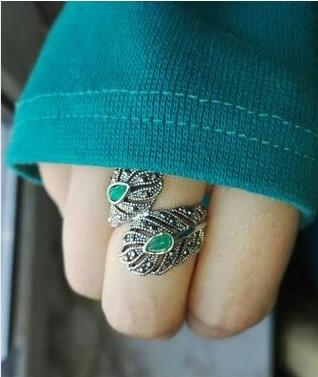 Vintage Retro Antique Silver Peacock Feather Ring - [neshe.in]