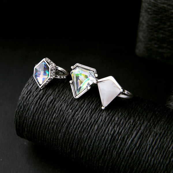 Silver Statement Triangle Geometric Charm Rings (Set of 3) - [neshe.in]