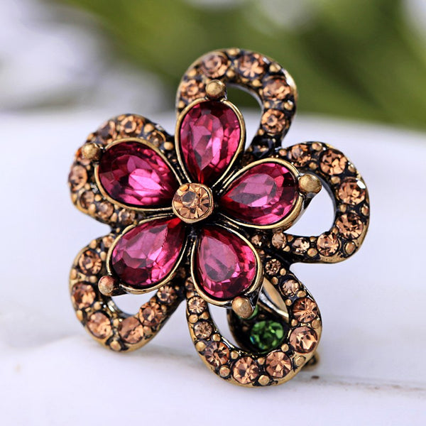 Antique Gold Pink Rose Crystal Party Ring - [neshe.in]
