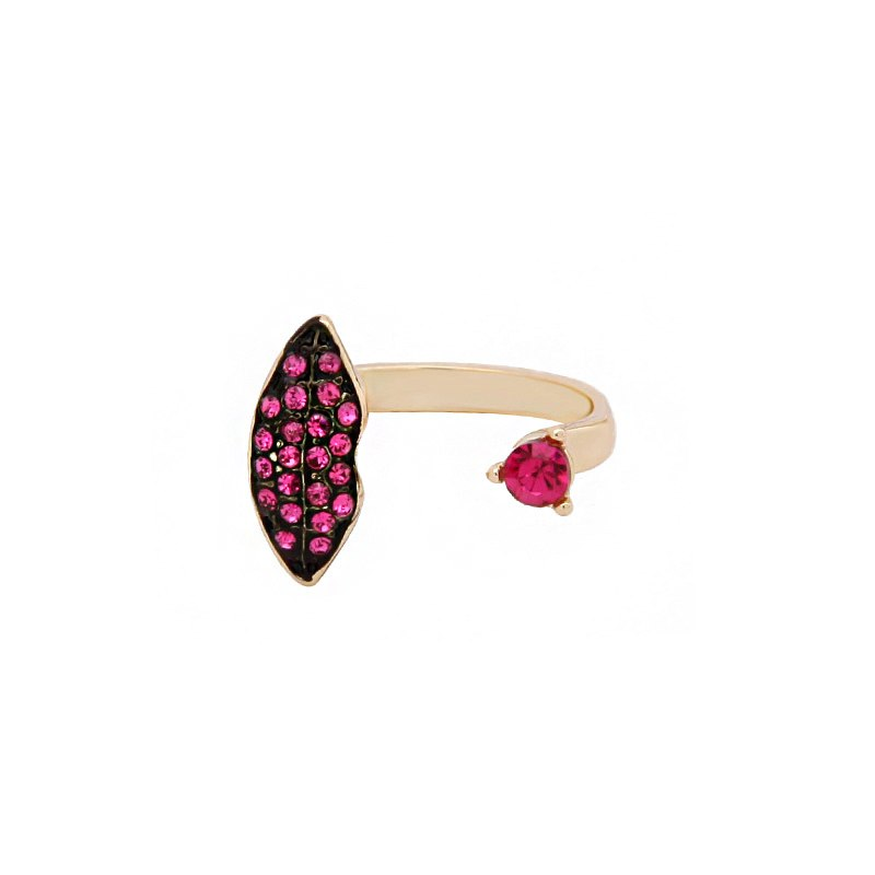 Pink Crystal Lip Shaped Open Style Ring - V DAY - [neshe.in]