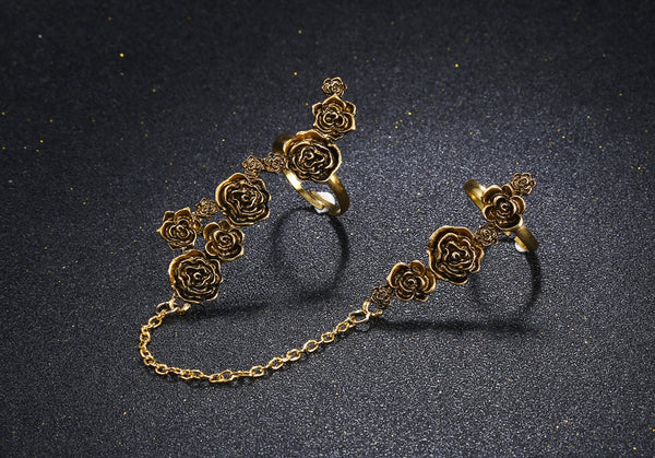 Vintage Antique Gold Flower Double Ring - [neshe.in]