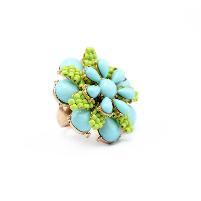 Super Stylish Acrylic Resin Floral Rings - 3 Colors - [neshe.in]