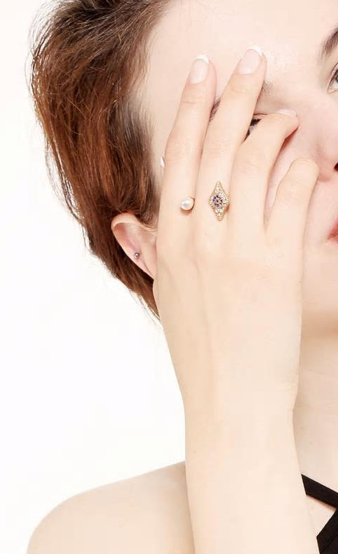 Pearl Rhinestone Evil Eye Open Ring - [neshe.in]