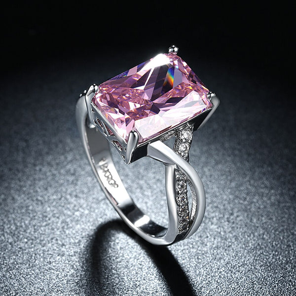 White Gold plated Pink CZ Crystal Ring - [neshe.in]