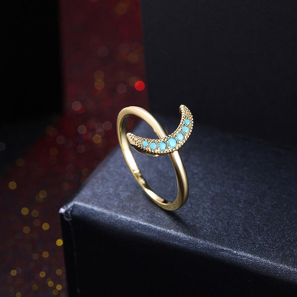 Crescent Moon Natural Stone Ring - 2 Colors - [neshe.in]