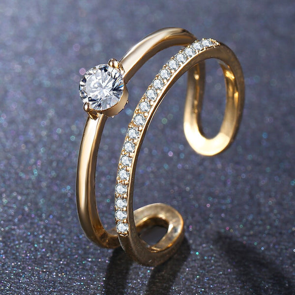 Geometric Cubic Zirconia Double Gold Crystal Ring - [neshe.in]