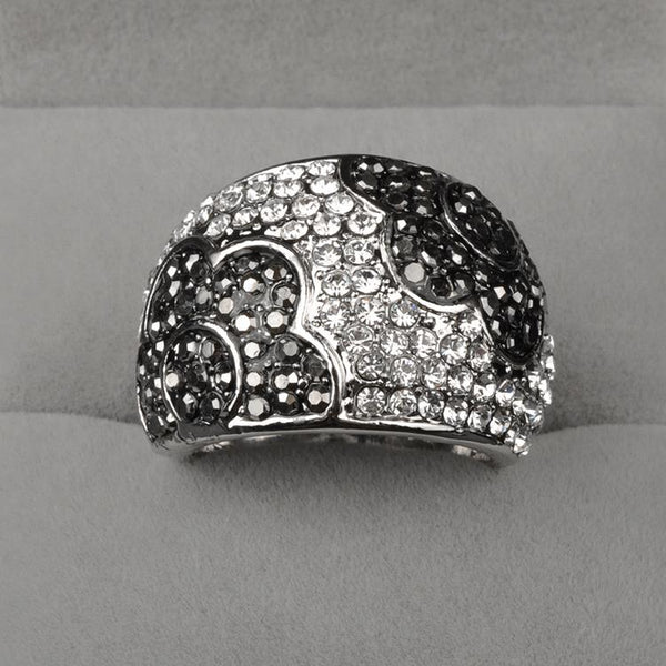 Austrian Crystal Ring with black crystal work - Platinum Plated - [neshe.in]