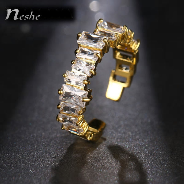 Cz Stone Pavement Abstract Shaped Golden Open - Ring - [neshe.in]