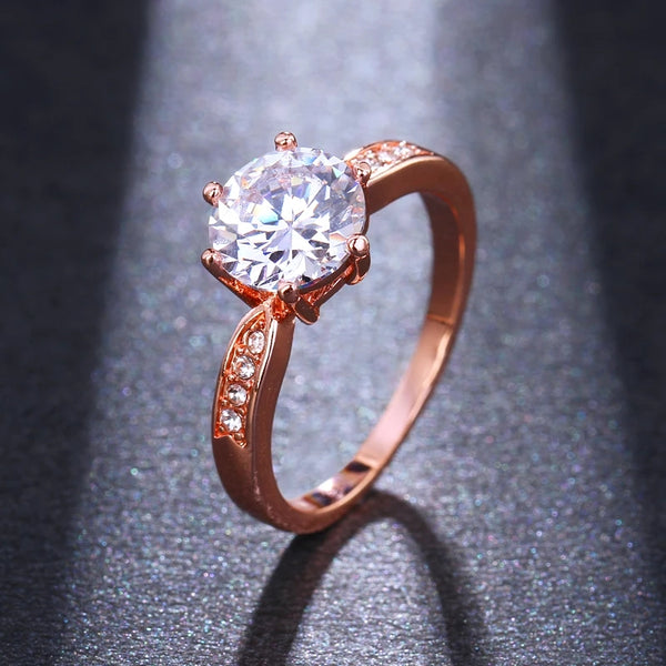 Golden CZ Clear Crystal Adjustable Party Ring - [neshe.in]