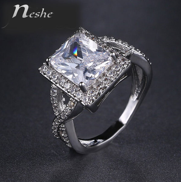 Romantic Platinum plated Square CZ Crystal Statement Ring - [neshe.in]