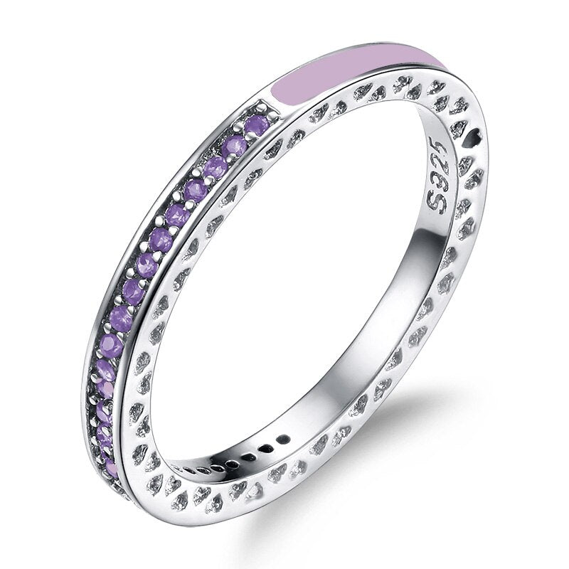 Classic Round Multicolor CZ Crystal Sleek Ring - 4 Colors - [neshe.in]