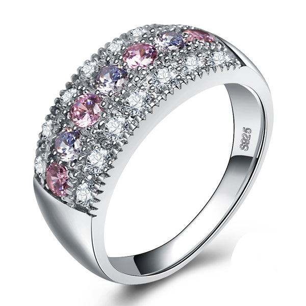 Pink & White CZ Crystals Silver Band Romantic Ring - [neshe.in]