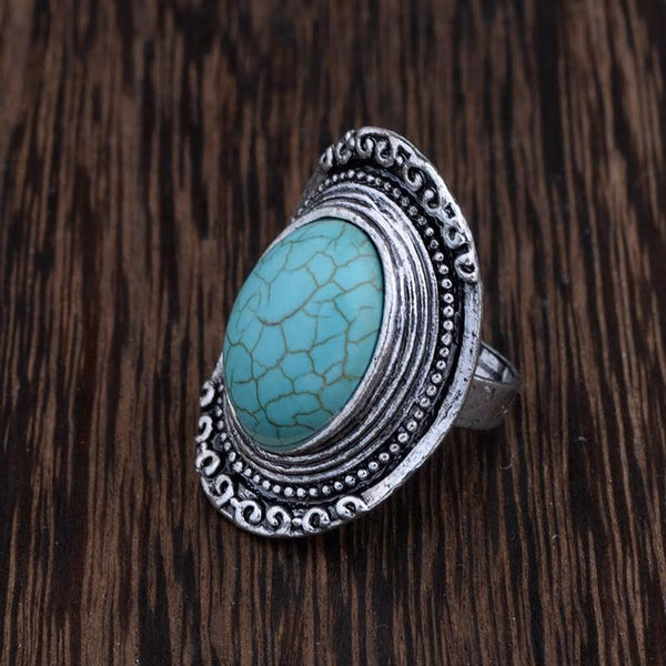 Antique Silver Oval Turquoise Stone Adjustable Ring - [neshe.in]