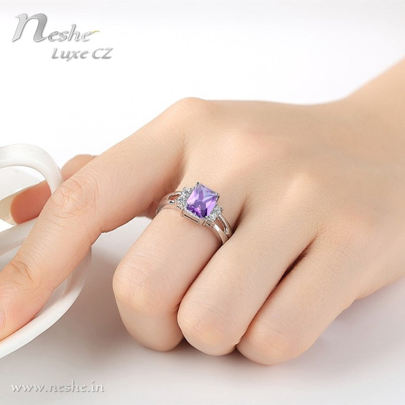 Purple CZ Crystal Square ring