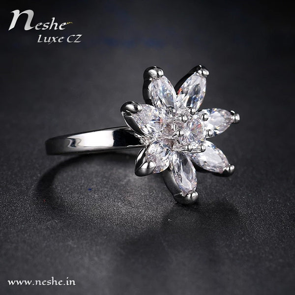 AAA CZ Delicate Flower Ring - 2 Sizes