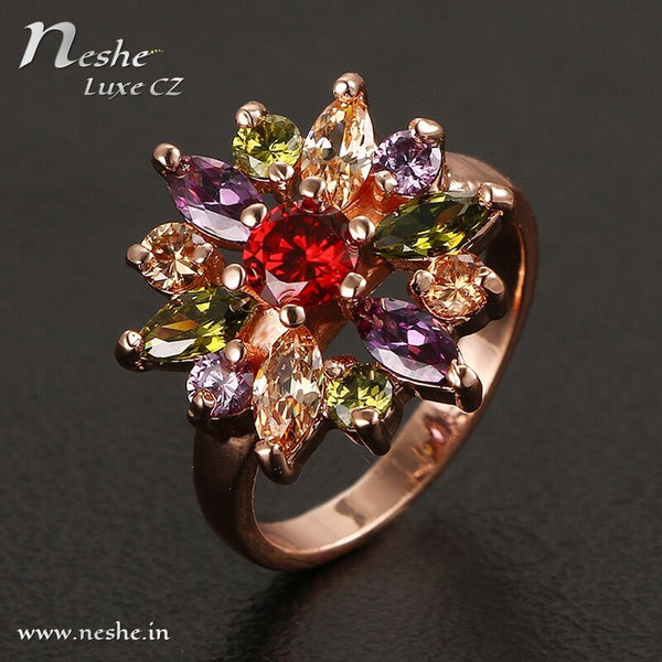 Golden Flower Colored Stone CZ Ring -2 Size