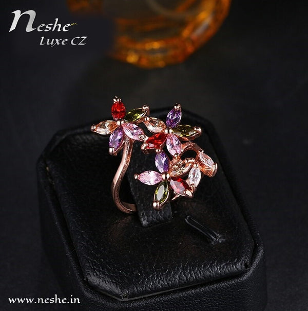 Multicolor CZ Crystal Flowers Open Ring