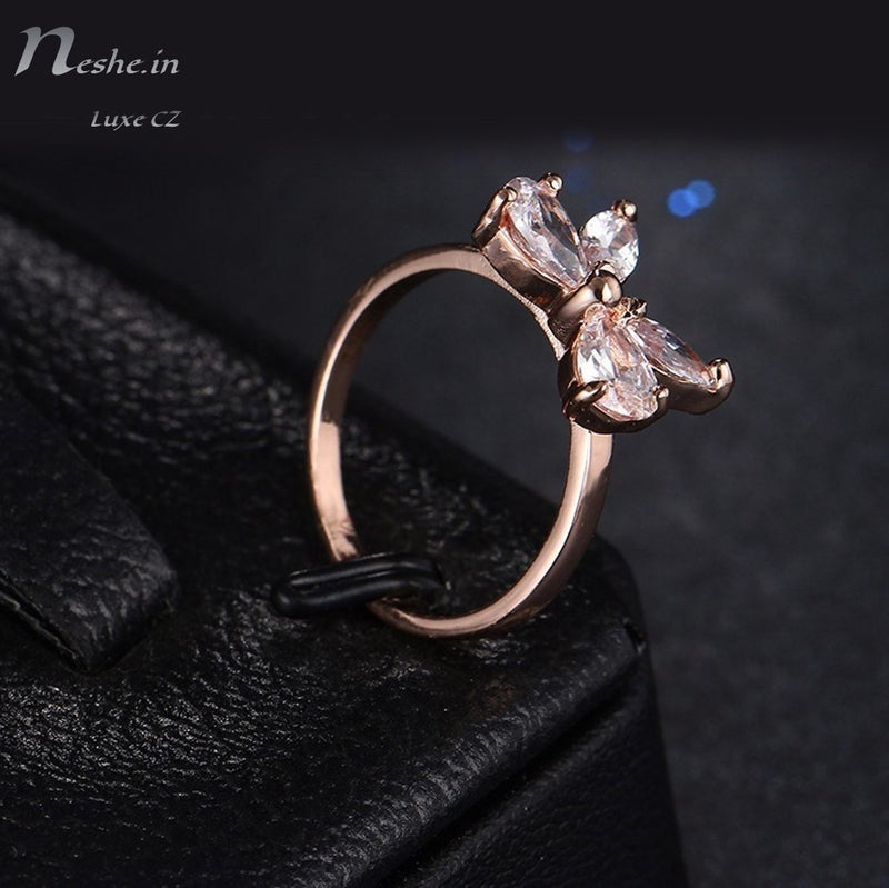 CZ Rose  Butterfly Ring - 2 Size