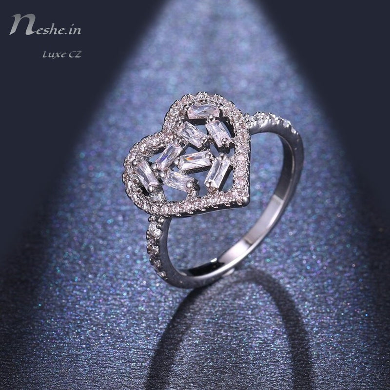 Heart Shape Silver CZ Crystal Hollow Out Design Ring (Size 6)