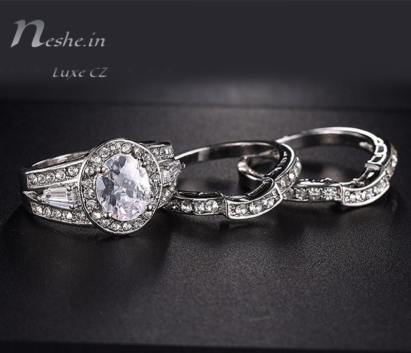 Unique 3 in1 CZ Wedding Enagagement Party Ring