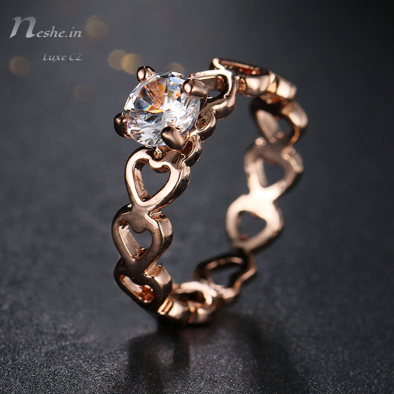 Love Openwork Heart Stackable Rose Gold CZ Ring