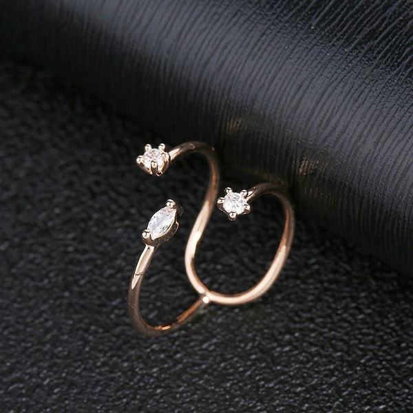 Unique Rose Gold Open CZ Party Ring