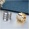 Adjustable Vintage Antique Silver Gold Carved Statement Rings - [neshe.in]