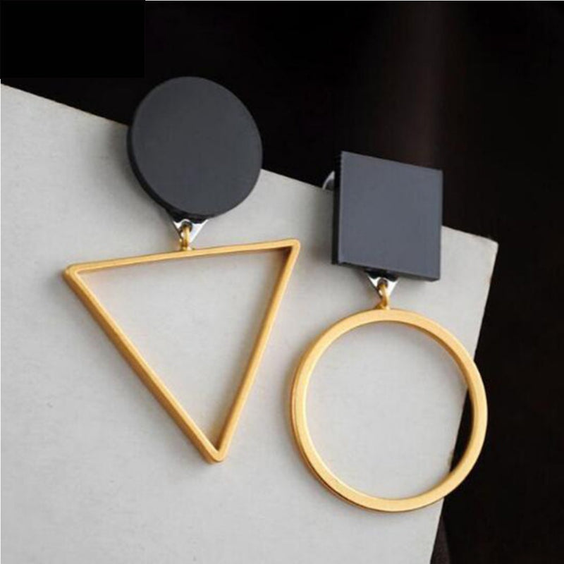 Fashion Triangle Round Geometric Asymmetric Black Earrings - [neshe.in]