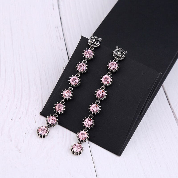 Pink Crystal Jaguar Long Statement Party Earring