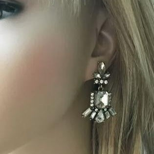 Clear Geometric Crystal Drop Earring - [neshe.in]
