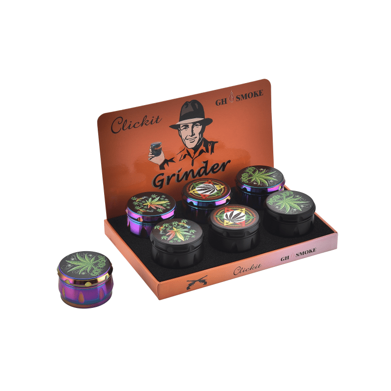MG005F-CLICKIT SHARPSTONE TOBACCO GRINDER - 6/BOX