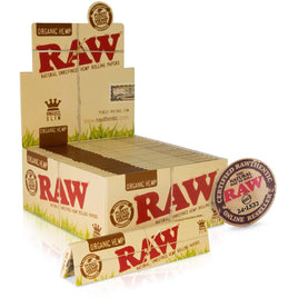 RAW King Size Slim Organic Rolling Papers | 50 Packs of 32