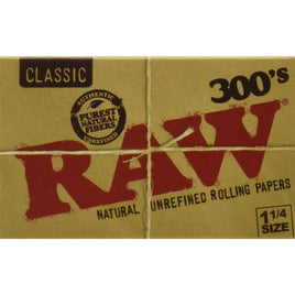 RAW 300 Classic 1.25 1 1/4 Size Rolling Papers, 300 Count