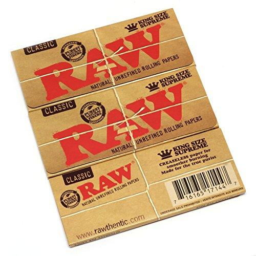 Raw Classic King Size Supreme Rolling Papers 40 Count (Pack of 3)