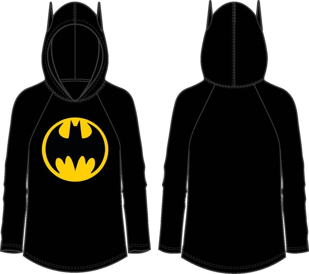 BATMAN JRS HOODED RAGLAN W/EAR