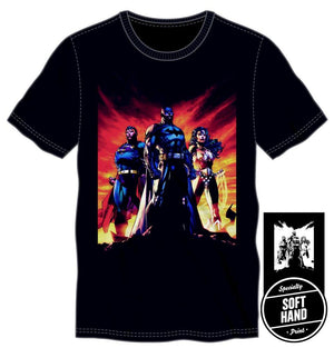 DC Comics Batman Superman Wonder Woman: Trinity Specialty Soft Hand Print Men's Black T-Shirt