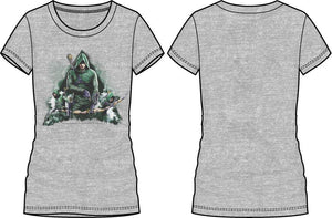 DC Comics Green Arrow Women's Gray Tee Shirt T-Shirt