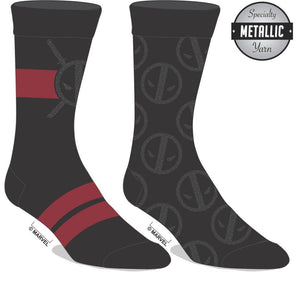 Marvel Set of 2 Deadpool Crew Socks, Set of Mercenary Suit Up Design and Pair Anti-Hero Insignia Pattern