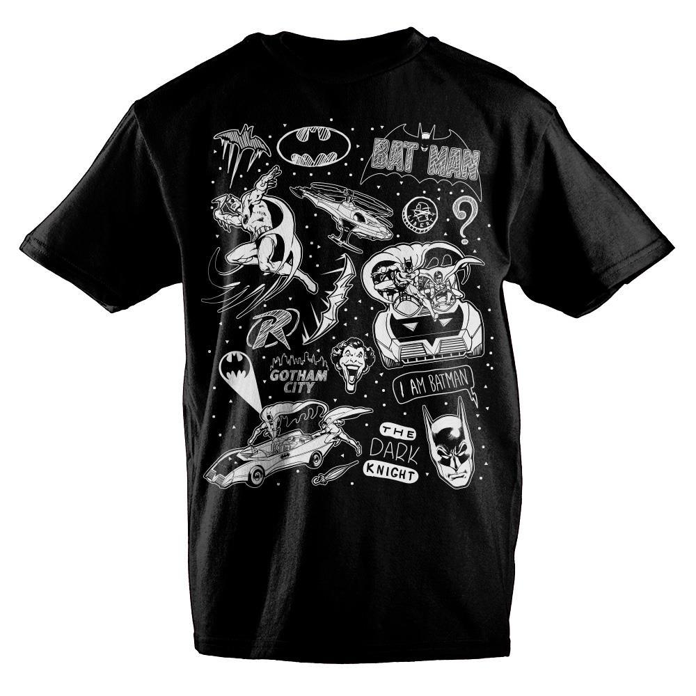 DC Comics Batman Chalk Artwork Boys T-Shirt